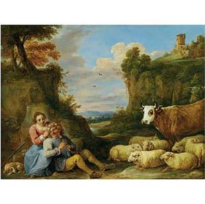 Arcadisch landschap met amoureus herderspaar