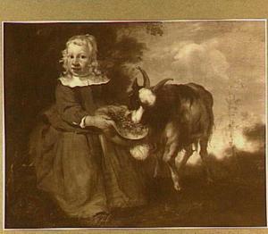 Portret van een kind met een bok