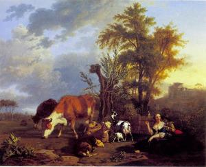 De herderin, haar aanbidder en haar kudde