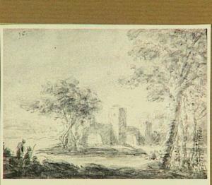 Rivierlandschap met figuren, bomen en ruïne