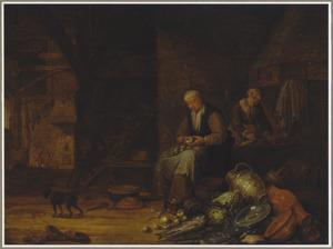 Interieur van een schuur met een vrouw die uien pelt met een stilleven op de voorgrond