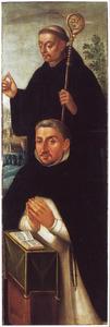 Knielende Dominicaner monnik met zijn patroon, de H. Robert van Molesme