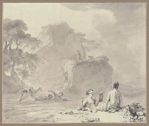 Badende nimfen in een rotslandschap