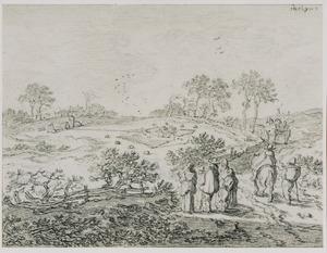 Heuvellandschap met vogelvangers en andere figuren