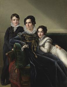 Portret van een vrouw met haar zoon en dochter