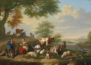 Landschap met musicerende herders met vee