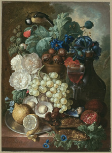 Stilleven met oesters, bokkingen, fruit en een koolmees