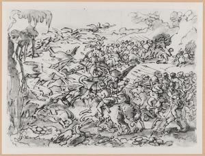 Pygmeeën vechten tegen kraanvogels