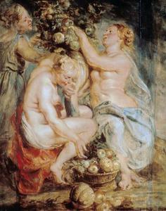 Ceres en twee nimfen met een hoorn des overvloeds