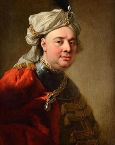 Portret van Gustav Adolf Reichsgraf von Gotter (1692-1762) met een tulband