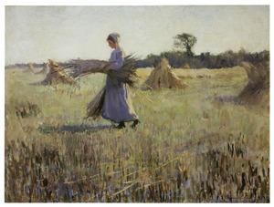 Meisje een bundel korenaren dragend