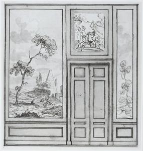 Ontwerp voor achterwand met twee behangsels aan weerszijden van een porte-brisée (met opzetvel)