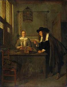 Interieur met een lezende man en een kantkloster met een roemer in de hand