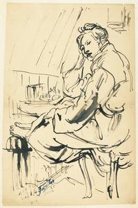 Portret van Amrey (Annemarie Balsiger) uit bad, in badjas