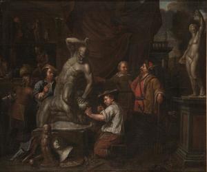 Atelier van een beeldhouwer werkend aan een beeld van Hercules en Antaeus
