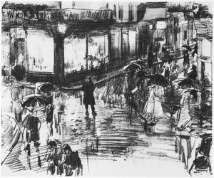 De Kalverstraat op de hoek bij het Spui te Amsterdam