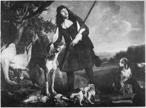 Jager in landschap met honden en jachtbuit