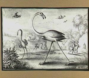 Boomrijk heuvellandschap met vogels en jagers