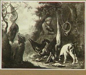 Landschap met jager, honden en jachtbuit