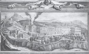 Landschap met abdij van Monteoliveto Maggiore