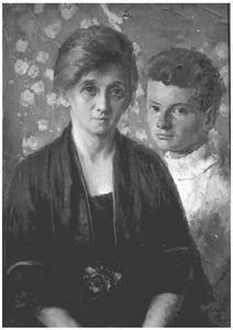 Portret van mevrouw M. Kuiler-Bokelman en haar zoon Cor Kuiler
