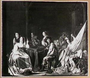 Wachtlokaal met soldaten en vrouwen bij het tric-tracspel