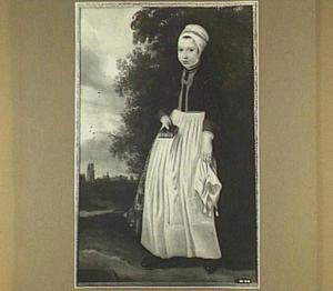 Portret van een meisje in Westfriese klederdracht, 1664; op de achtergrond het silhouet van een stad