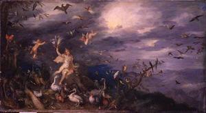 Allegorie van de lucht (een van de vier elementen): Aurora met velerlei vogels. In de lucht Helios met zijn zonnewagen