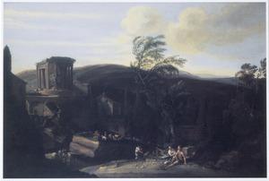 Italianiserend landschap met de tempel van Vesta, Tivoli