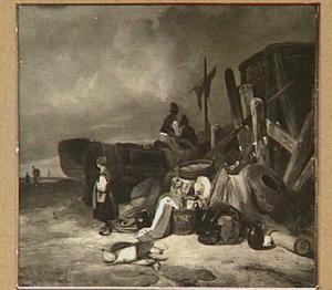 Strandgezicht met boten en vissen