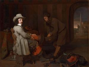 Portret van Anthony de Bordes (1615-1678 ) met een bediende