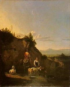 Italianiserend landschap met figuren en vee