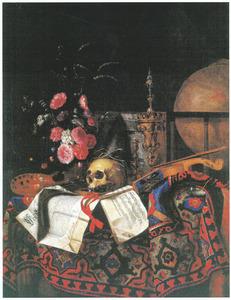 Vanitasstilleven met een boeket bloemen, schilderspalet, globe, viool en akeleibeker