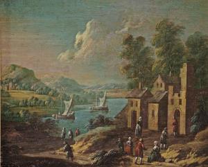 Rivierlandschap met dorpsscene in de voorgrond