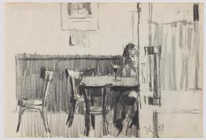 Vrouw aan cafétafel