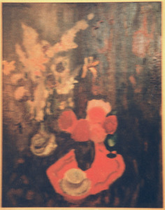 Stilleven met bloemen en theekopje
