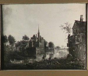 Gezicht op een kasteel langs een rvier