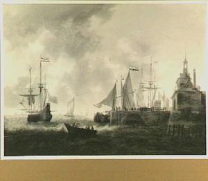 Fluitschip, roeiboot en andere vaartuigen voor de Oude Hoofdpoort te Rotterdam