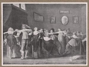 Elegant musicerend, dansend en drinkend gezelschap in een interieur
