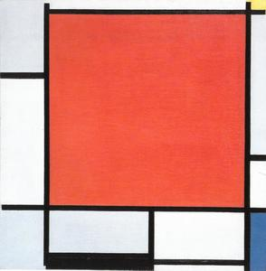 Composition with large red plane, bluish gray, yellow, black, and blue