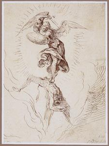 De aartsengel Michael verslaat Lucifer