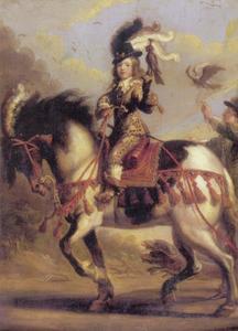 Ruiterportret van de jeugdige Louis XIV |1638-1715) als jager op de valkenjacht, met een bediende