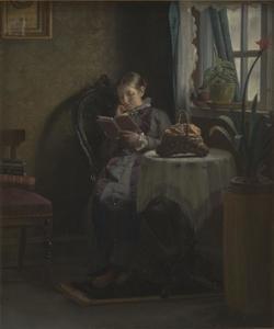 Moeder van de kunstenaar lezend