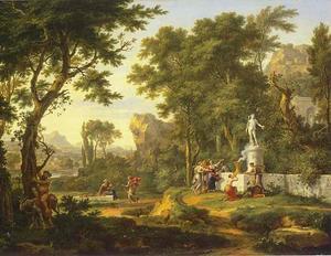 Arcadisch landschap met offering aan Bacchus