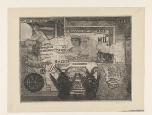 Twee vleermuizen tegen een achtergrond van Spaanse bankbiljetten en teksten / Spanje III