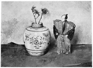 Stilleven met vaas en Japanse pop