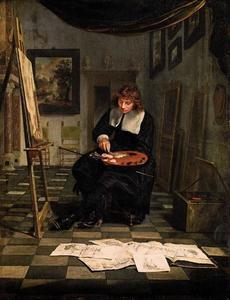 Portret van een man genaamd Willem van de Velde II (1633-1707)