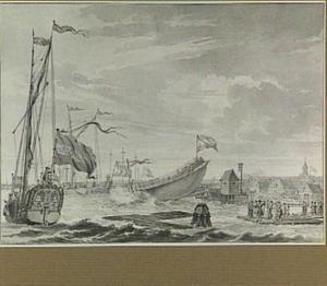 Amsterdam, scheepswerf met tewaterlating, op de achtergrond 's Lands Magazijn