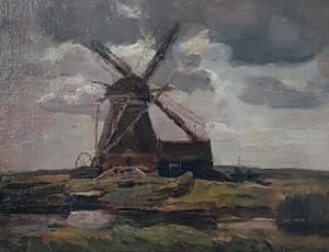 Oostzijdse mill, horizontal oil sketch with brownish-gray sky