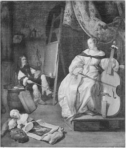 Interieur van een schilderatelier met een kunstenaar die een vrouw met een viola da gamba schildert